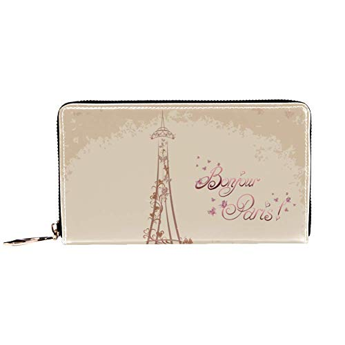 XCNGG Women's Zip Around Wallet and Phone Clutch,Paris Print,Travel Purse Leather Clutch Bag Card Holder Organizer Wristlets Wallets