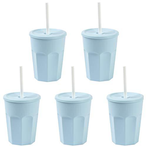 Engelland - 5X plastic beker met deksel blauw drinkbeker met rietje Party-beker plastic drinkglazen meerweg 0,25 l