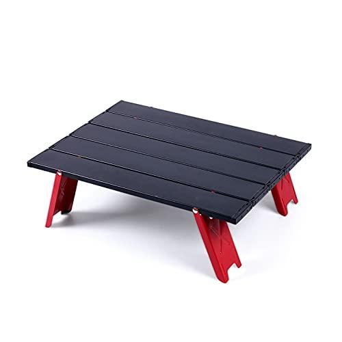 LHY HOME Mini Mesa Plegable para Acampar para Picnic Al Aire Libre, Muebles para Excursiones, Barbacoa, Escritorio Plegable Ultraligero para Computadora 41,2X29x13cm,Negro
