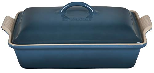 "Le Creuset Stoneware Heritage Covered Rectangular Casserole, 4 qt. (12"" x 9""), Deep Teal"