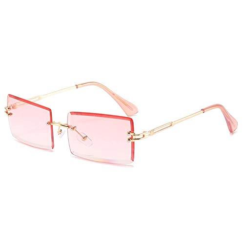 ZZOW Gafas De Sol Sin Montura Rectangulares Pequeñas A La Moda para Mujer, Gafas De Sol con Gradiente De Colores Claros Y Vintage para Hombre, Gafas De Sol Uv400
