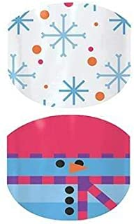 Flurries & Frosty - Jamberry Nail Wraps - Juniors/Child Size - Full Sheet - Snowman on Red with Blue Snowflakes on White
