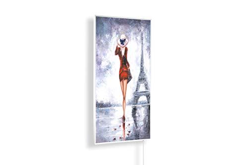Könighaus 600W/800W/1000Watt Infrarot Bildheizung Ölgemälde (Infrarotheizung mit hochauflösendem Motiv) (1000W-ÖL27 Frau rotes Kleid Eiffelturm) - inkl. Thermostat