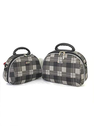 Dejuno Makeup bag grey with Zipper and Multi Compartment easy to carry 12' Set