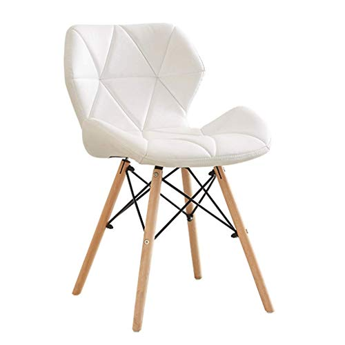 WSDSX Desk Chair,Esszimmerstuhl Computer Bürostuhl Home Makeup Hocker mit Rückenlehne weiches Kissen und robusten Holzbeinen, weiß