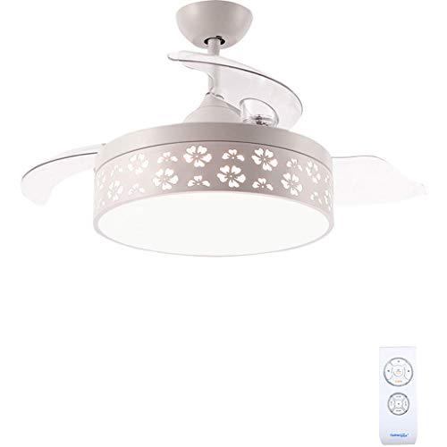 BaiJJ multifunctionele plafondventilator met stille motor, dimbare led-plafondlamp met onzichtbare vleugels en afstandsbediening, voor slaap- en woonkamer