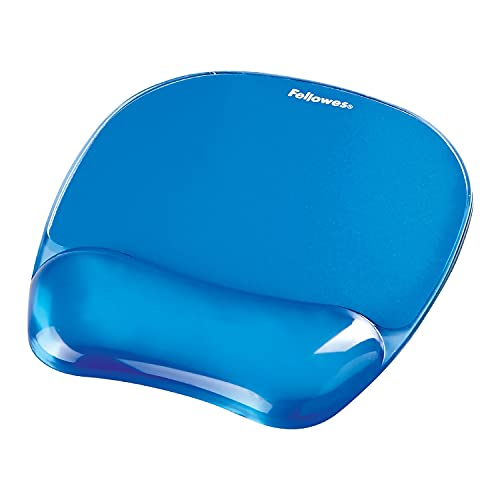 Fellowes tappetino mouse con poggiapolsi in gel Crystals, blu