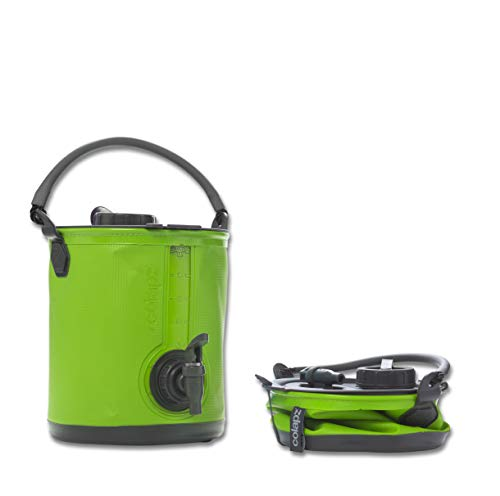 Colapz 2-in-1 Collapsible Water Container - Camping Water Carrier - Campervan bucket - Water Dispenser with Tap - Green