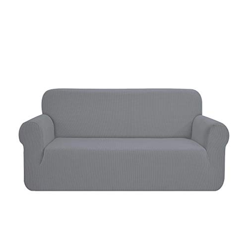 SAMSTEX Stylish Sofa Cover Stretch 1-Piece Sofa Slipcovers High Stretch Sofa Covers 3 Seater Thick Soft Sofa Protector Machine Washable Non Slip Couch Covers (3 Seater, Light Grey)