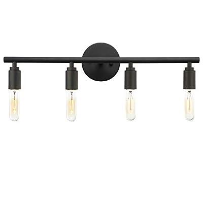 Phansthy 4 Light Vanity Light Simplicity 4 Light Bathroom Wall Sconce (Matte Black)