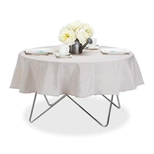 Relaxdays Tischdecke wasserabweisend, pflegeleicht, Polyester-Tischtuch, bügelfest, Gartentischdecke rund D:140cm, taupe