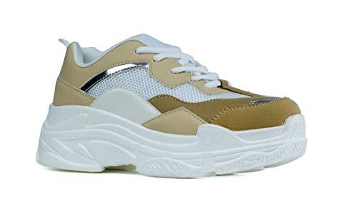 Zapatillas deportivas para mujer con suela gruesa y a la moda, tallas 36 a 38, color Blanco, talla 36 EU