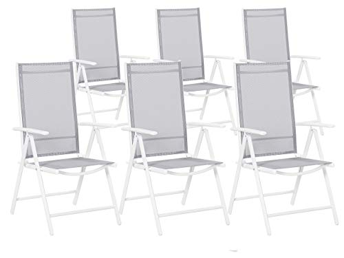 Beliani Conjunto de 6 sillas de jardín Grises en Aluminio Catania