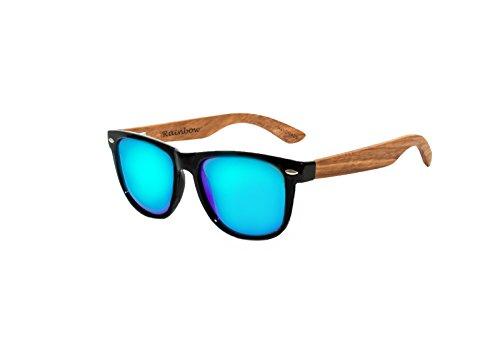 Rainbow Safety - Gafas de sol polarizadas con espejo de madera, estilo vintage, para mujer y hombre, RW-Green-Mirror