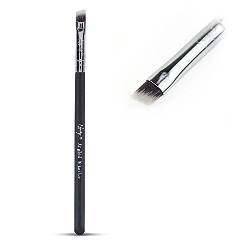Nanshy Angled Detailer Eye Brow Eyeliner Brush. Vegan, soft synthetic, cruelty free brushes. Black Handle