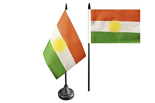 Flaggenfritze Tischflagge/Tischfahne Kurdistan + gratis Aufkleber