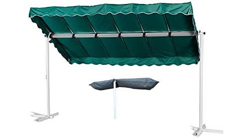 GRASEKAMP Qualität seit 1972 Standmarkise Dubai Grün 375 x 225 cm mit Schutzhülle Terrassenüberdachung Raffmarkise Mobile Markise Ziehharmonika