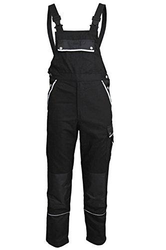 TMG® Arbeitslatzhose Herren, Lange Arbeitshose mit Latz und Kniepolstertaschen Schwarz 52