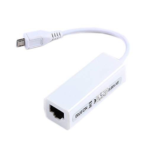 Ygerbkct Tarjeta adaptadora de Red LAN Micro USB 2.0 de 5 Pines a Ethernet 10 / 100Mbps RJ45 para Tableta