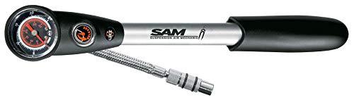 SKS GERMANY Dämpferpumpe SAM Suspension Air Mechanic Luftpumpe Fahrrad (Ventilanschlus AV, schwenkbarer Schlauchanschluss, Druckreduzierventil, 25 bar / 360 PSI, Aluminium, Stahlflex-Gewebe), Silber
