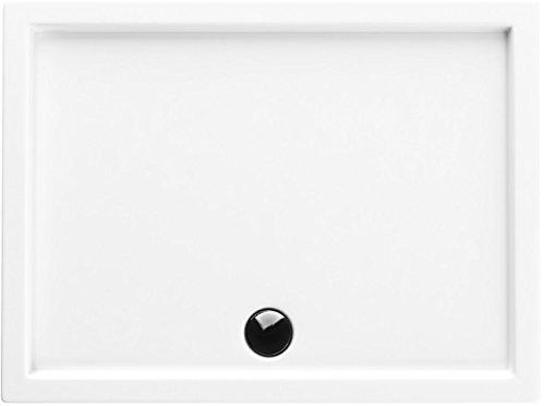 Acryl-Duschwanne 80x90x14 cm Duschtasse Competia rechteckig für Duschkabine Styroporträger extra flach Sanitär-Acryl Duschbecken stabil weiß+ Viega Tempoplex
