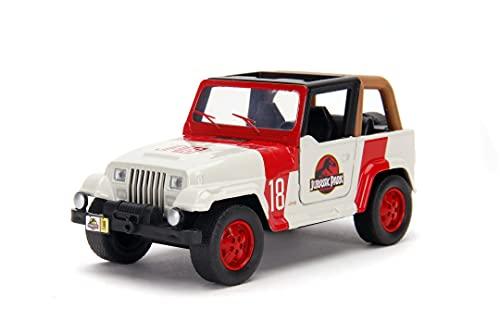 Jada Jeep Wrangler de la película Jurassic Park, Escala 1:32, en Metal de Calidad Fundido a Presión, Las Puertas se Abren, para Niños a Partir de 8 Años, Multicolor (253252019)