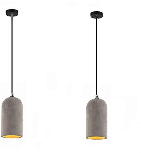 Mopoq 2 piezas de hormigón industrial cemento gris colgantes E27 Vintage Retro Cocina Comedor pendiente oval de luz cilíndricos de hormigón de la lámpara pendiente de altura ajustable creativo Comedor