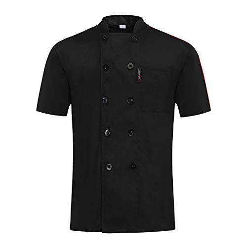 MJL Kochjacke Koch Jacke Bäckerjacke Kurzarm Kochkleidung mit knöpfen Herren Damen Kurzarm Kochuniform Schwarz L