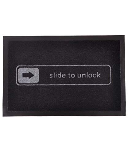 Hanse Home Fußmatte Schmutzfangmatte Slide To Unlock Schwarz, 40x60 cm