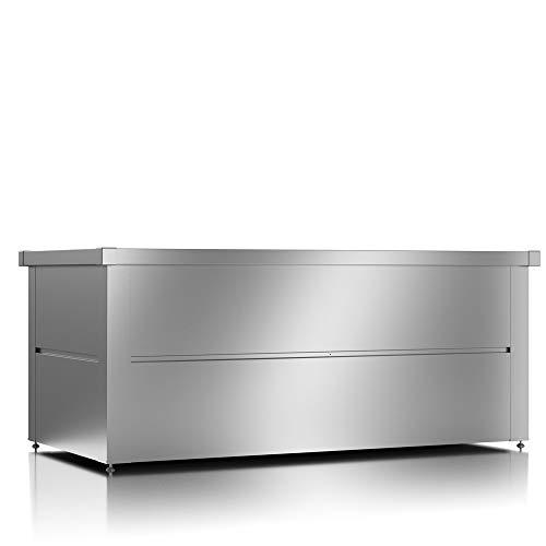 ILESTO Aufbewahrungsbox aus Stahl, Ben (692L): Auflagenbox wasserdicht XL | Kissenbox für Ihren Garten 165x85x69cm | Stauraum für den Außenbereich | Silber Metallic - 2
