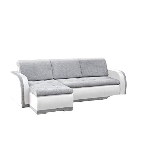 Canapé d'angle 3 places Blanc Tissu Confort