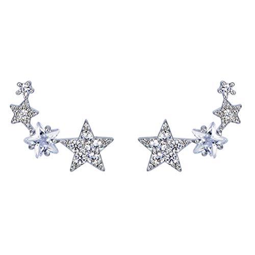Galbla - Pendientes de tuerca de plata de ley 925, diseño de estrellas, circonitas, diamantes de imitación