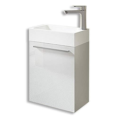sogood Petit Meuble sous Vasque Blanc Brillant et Vasque 46cm Ensemble de 2 pièces de Meuble de Salle de Bain Design Pisa