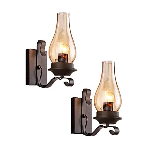 GYAM Aplique Moderno de Iluminación Pared Juego de 2, Lámparas de Pared Rústicas de Metal Industrial, Decoración de Lámpara de Pared de Dormitorio para Sala de Estar, Baño y Pasillo
