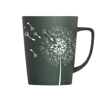 N/R Kreative Löwenzahn Blätter Thema Milch Kaffee Keramik Tassen Mit Deckel und Löffel Reine Farbe Tassen Tasse Küchenwerkzeug Geschenk, E, 520ML