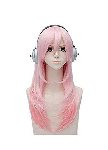 COSPLAZA Perücke Cosplay Wig Super Sonico Pink Gradient Lange gerade Mädchen Anime Haar
