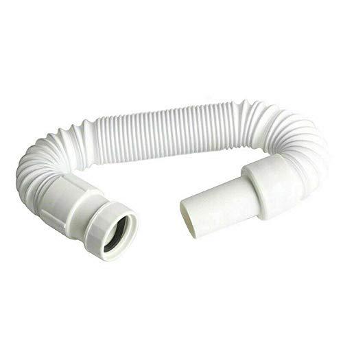 JINJIANG Manguera de drenaje flexible Sifón Trampa de olor para lavabo Extensible de 340-760 mm Conector flexible Tubo de agua elástico para escurridor de lavabo inodoro