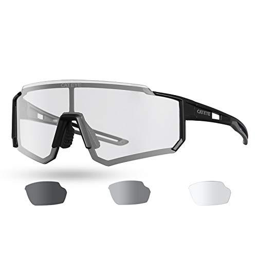 Gafas de Sol Fotocromáticas para Hombre, Gafas de Bicicleta de Montaña, Gafas de Ciclismo con Protección UV 400 para Viajes Deportivos al Aire Libre,Negro