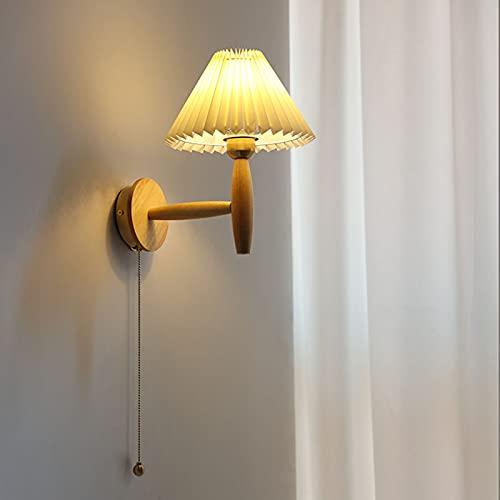 FREEDL E27 Lámpara De Pared Madera Vintage Con Interruptor, Led Aplique Pared Dormitorio Rústico Con Pantalla Tela, Retro Iluminación De Pared Deco Interior Con Base Latón, Art Deco Sala Pasillo,A