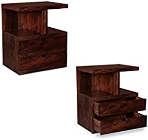 Jangir JDBT156 Bed Side Table (Glossy Finish, Brown)