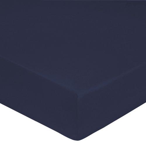 Blanc des Vosges Uni Percale Drap housse Coton Navy 160 x 200 cm bonnet de 40cm