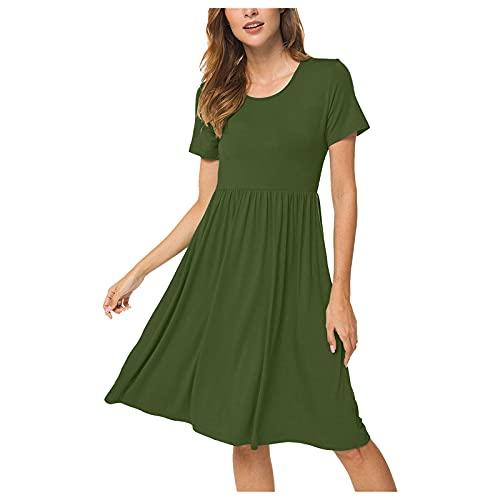YANFANG Vestido Casual De Verano Manga Corta para Mujer Cintura Alta con Bolsillosvestido Largo Noche Fiesta Playa Larga Moderno Arrugas Y Cordones,Verde,M