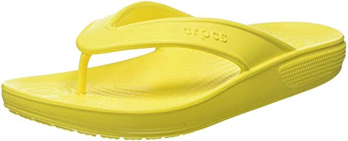 Crocs Unisex Men's and Women's Classic II Flip Flops   Adult Sandals, Lemon, 6 US
