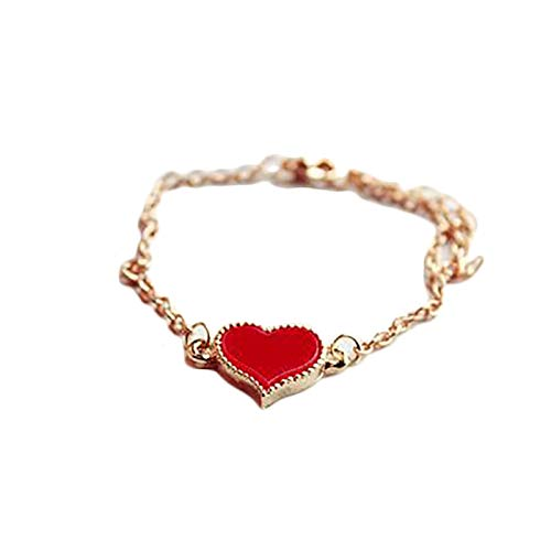 Women Love Heart Design Bracelet Bangle Jewelry Chain Party Cocktail Gift - Red - Bracelets - Birthday Gifts Christmas Stocking Filler Gifts Valentines Gifts Easter Gifts