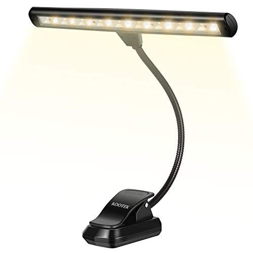 Kootek Book Lights, Upgraded 18 LED Clip on Light Music Stand Orchestra Piano Light Rechargeable USB Reading Desk Lamp 2 Brightness 3 Color Temperature