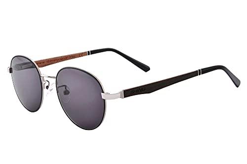 SHINU Gafas Polarizadas de Conduccion nocturna para Hombre y Mujer Lentes de Sol con Montura de Madera de Metal para Pesca Correr Senderismo -SG903(C3,grey lens)