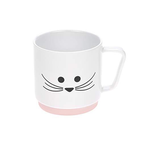 LÄSSIG Tasse Porzellan Kindertasse Trinkbecher mit Silikonring rutschfest Kindergeschirr/ Little Chums Mouse Rosa