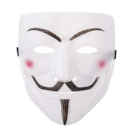 UltraByEasyPeasyStore Ultra Weiß Guy Fawkes Erwachsene Maske Hacker Anonymous V Wie Vendetta Gesichtsmaske Halloween Kostüm mit Elastischem Riemen Kinder Guy (1)