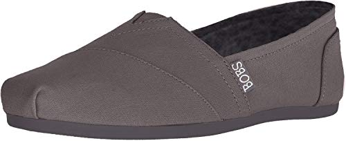 Skechers BOBS Women's Bobs Plush-Peace & Love Ballet Flat, Dark Grey, 9 M US