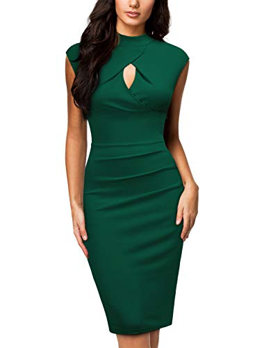 Miusol Women's Business Slim Style Ruffle Work Pencil Dress,Medium,C-Dark Green